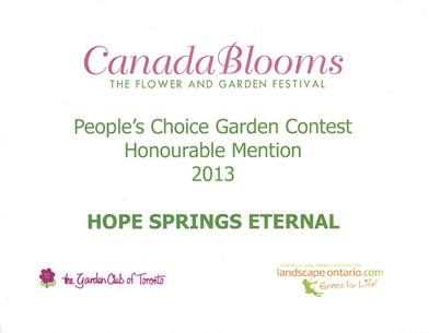Canada Blooms Award 2013